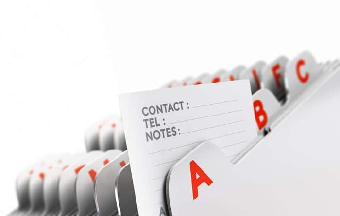 Suppliers List - contacts file folder