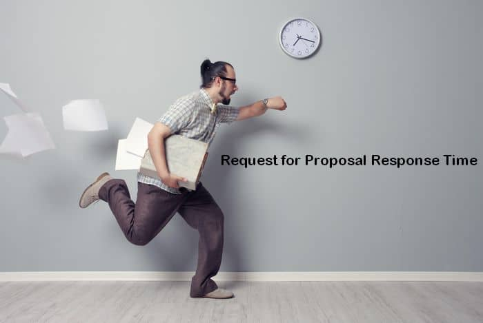 Man rushing for project proposal deadline