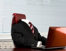 Project Status Reports - Invisible man in suit at desk, not getting promoted